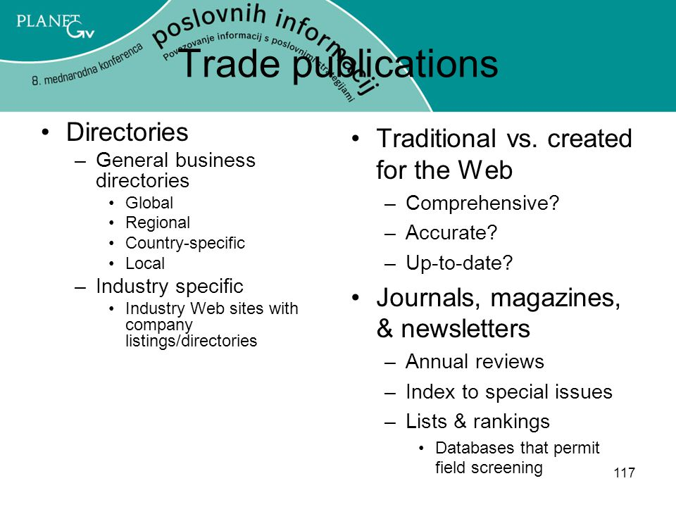 Trade publications Directories Traditional vs. created for the Web