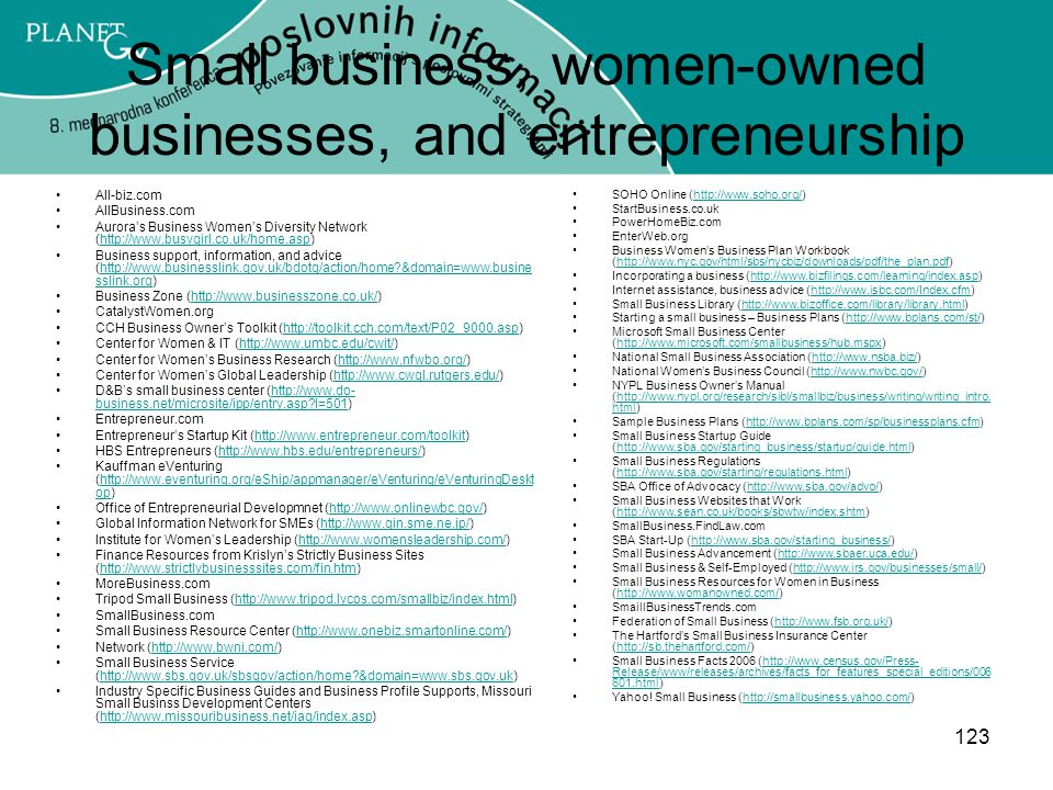 Small business, women-owned businesses, and entrepreneurship