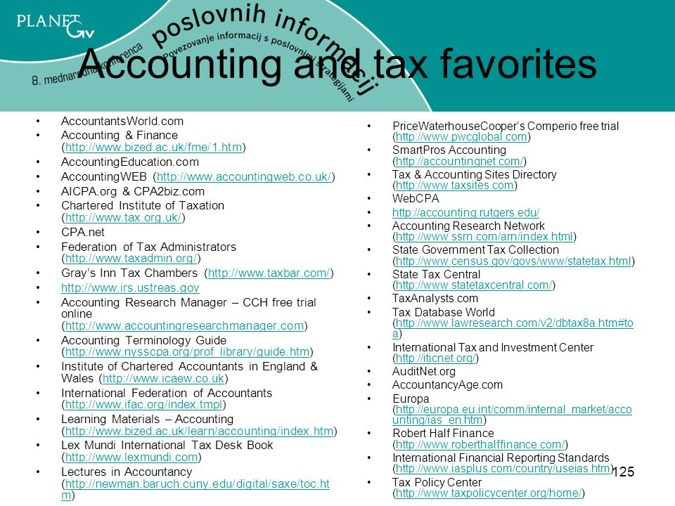 Accounting and tax favorites
