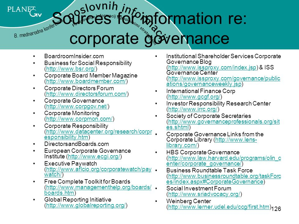 Sources for information re: corporate governance