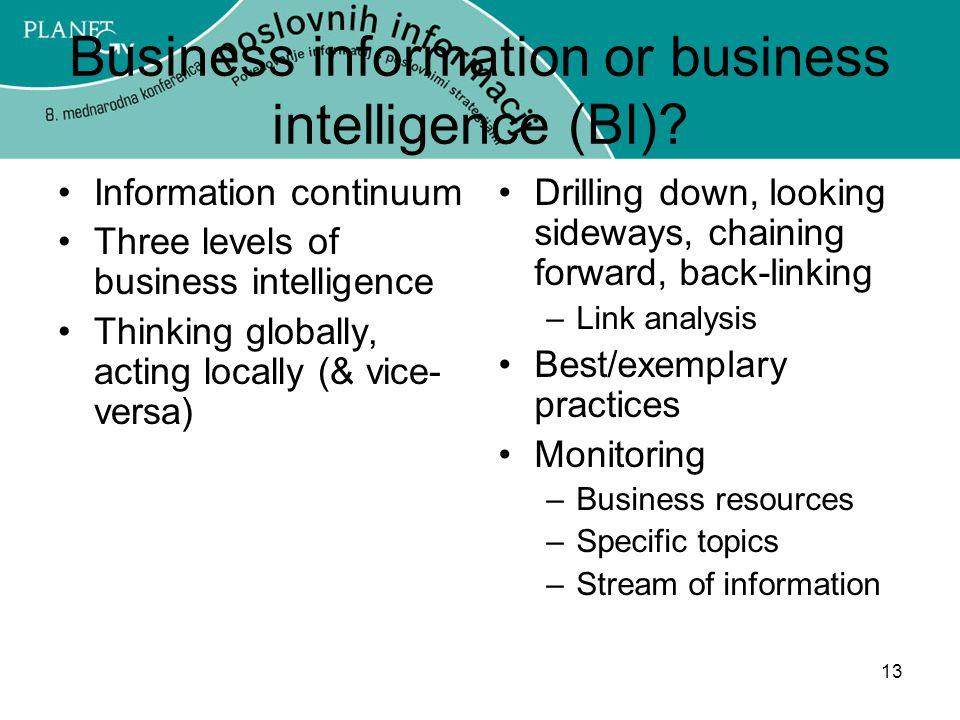 Business information or business intelligence (BI)