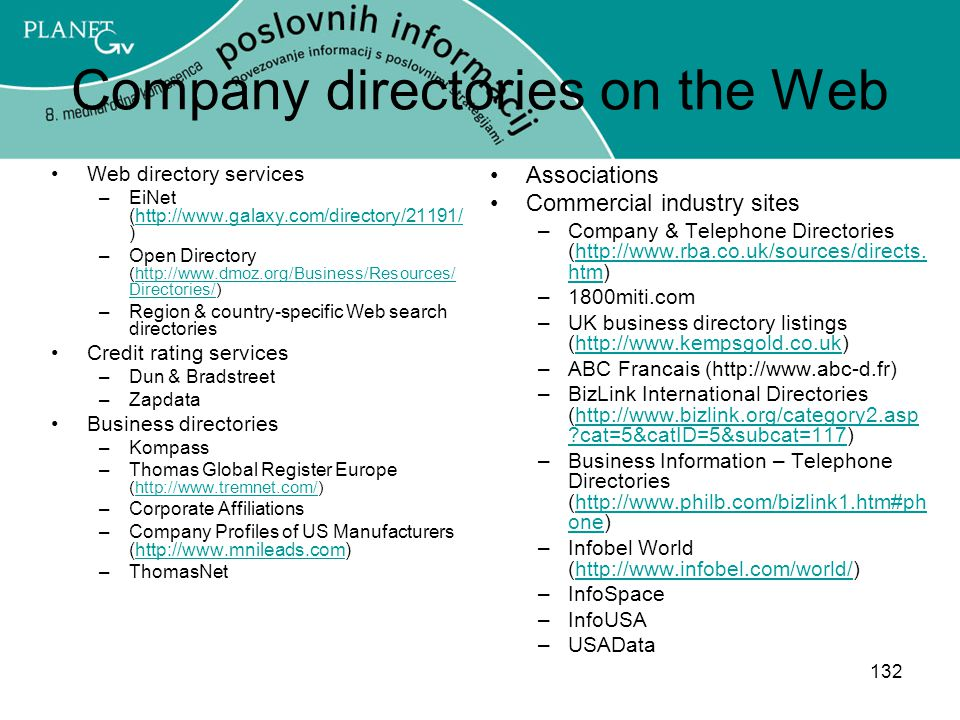 Company directories on the Web