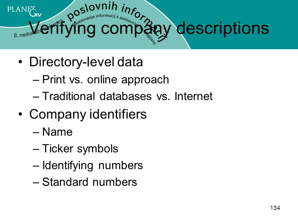 Verifying company descriptions