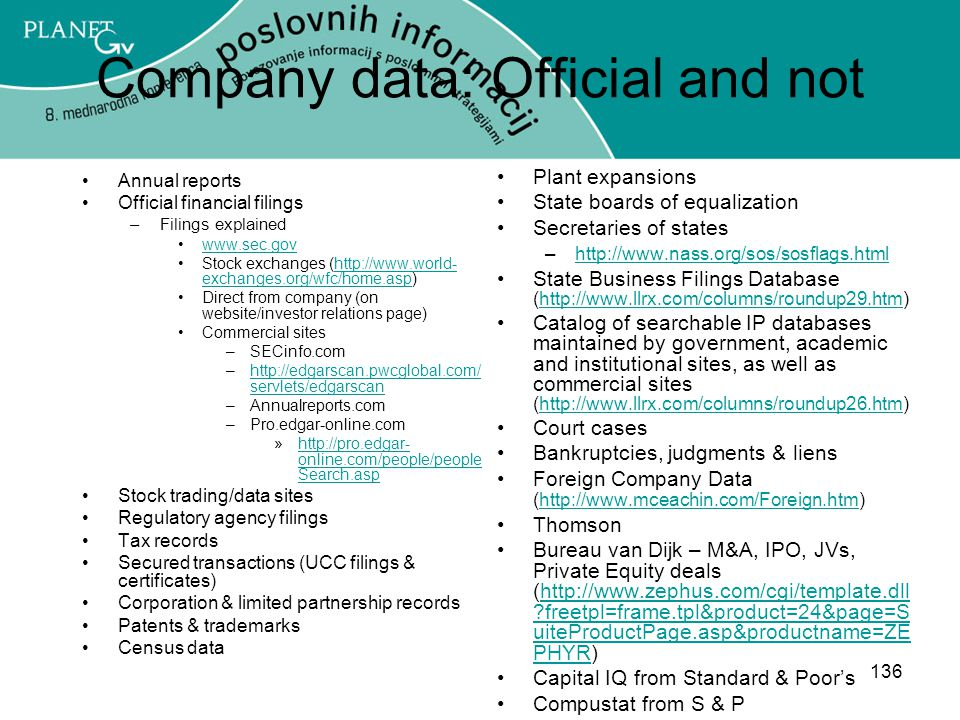 Company data: Official and not