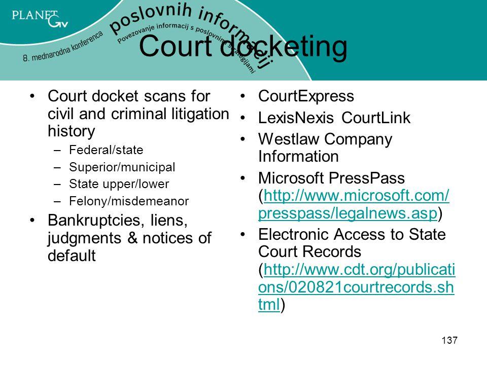 * 07/16/96. Court docketing. Court docket scans for civil and criminal litigation history. Federal/state.