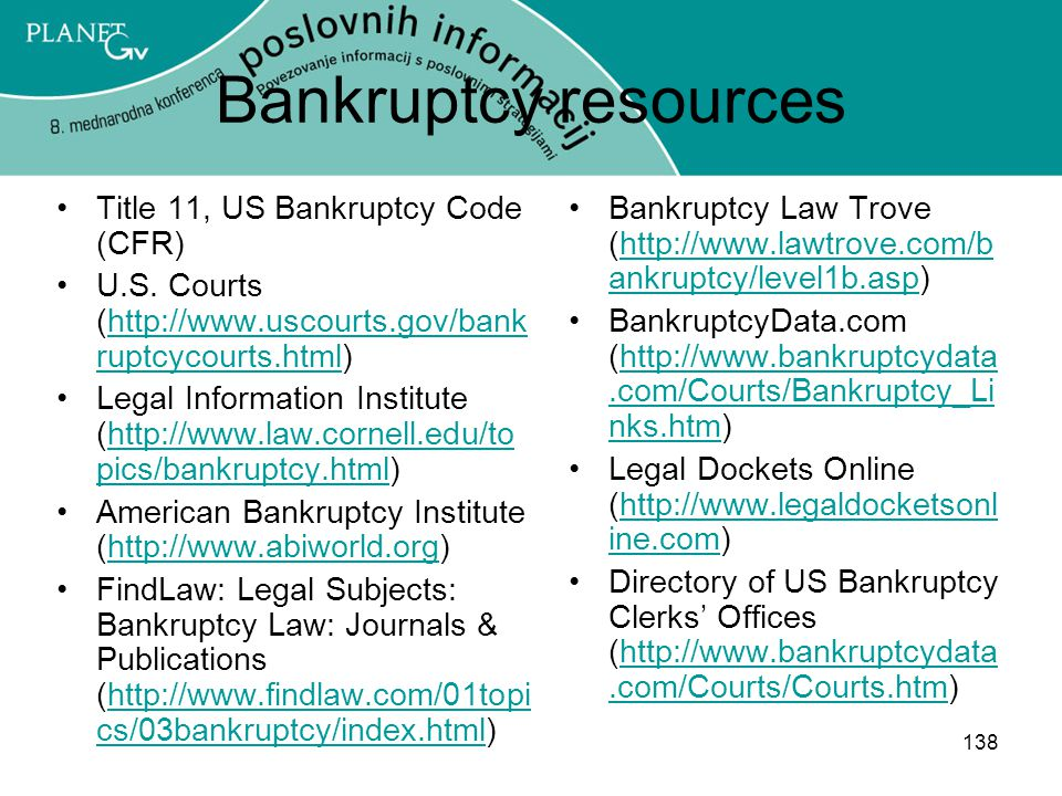 Bankruptcy resources Title 11, US Bankruptcy Code (CFR)