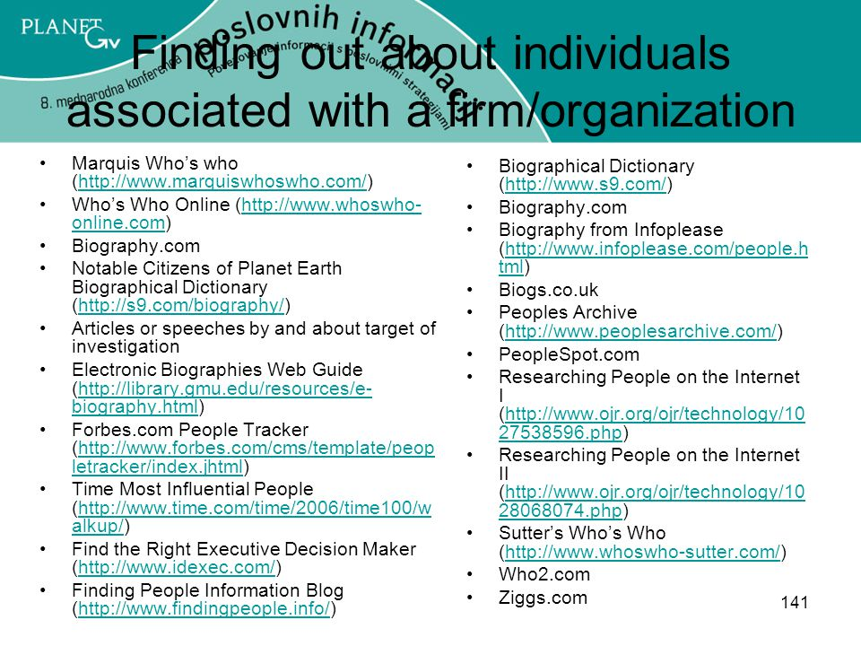 Finding out about individuals associated with a firm/organization