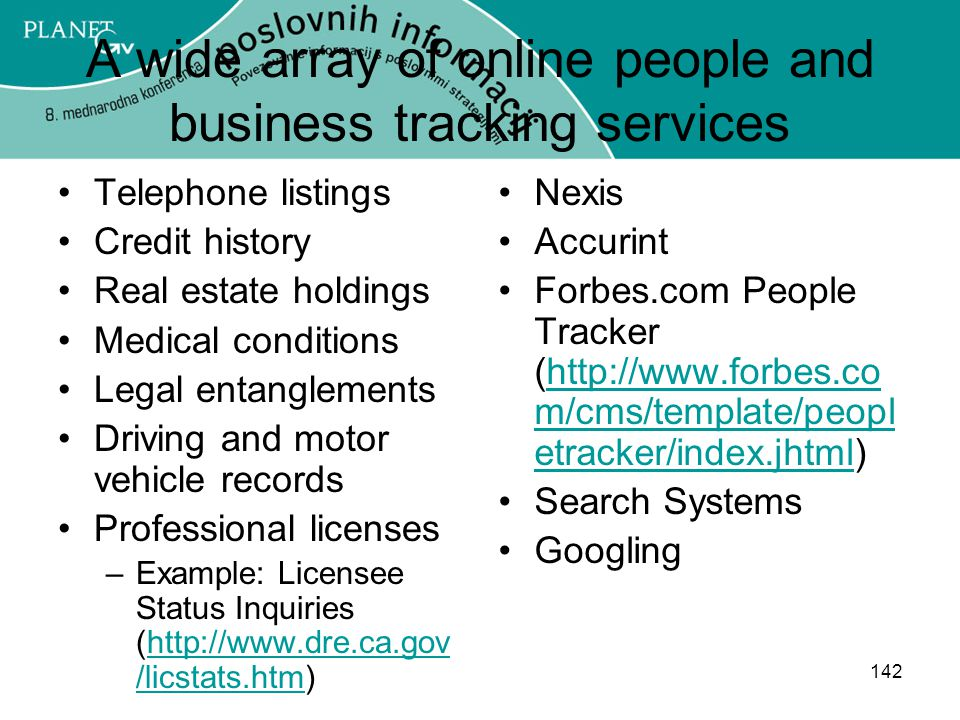 A wide array of online people and business tracking services