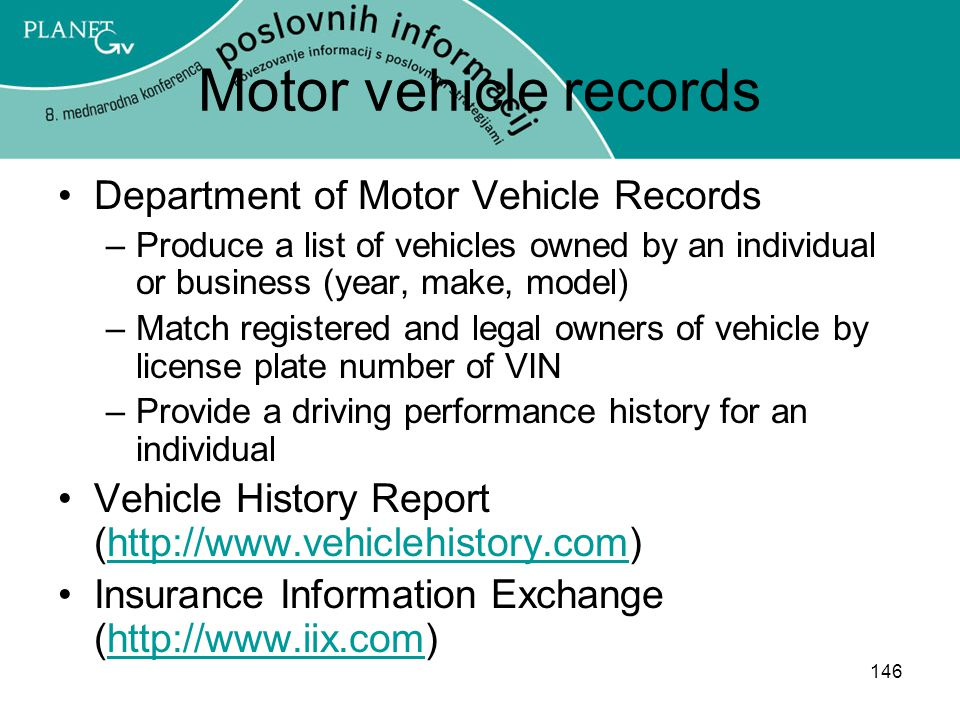 Motor vehicle records Department of Motor Vehicle Records
