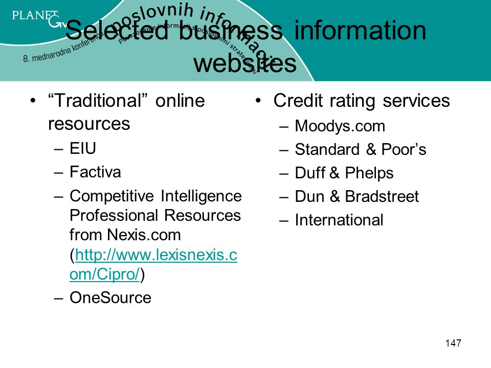 Selected business information websites