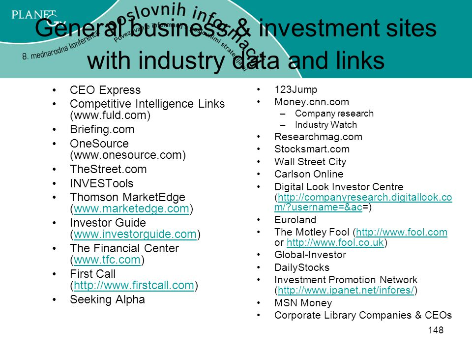 General business & investment sites with industry data and links