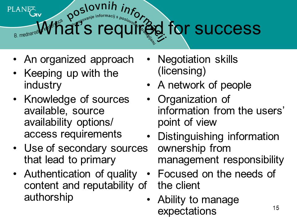 What's required for success