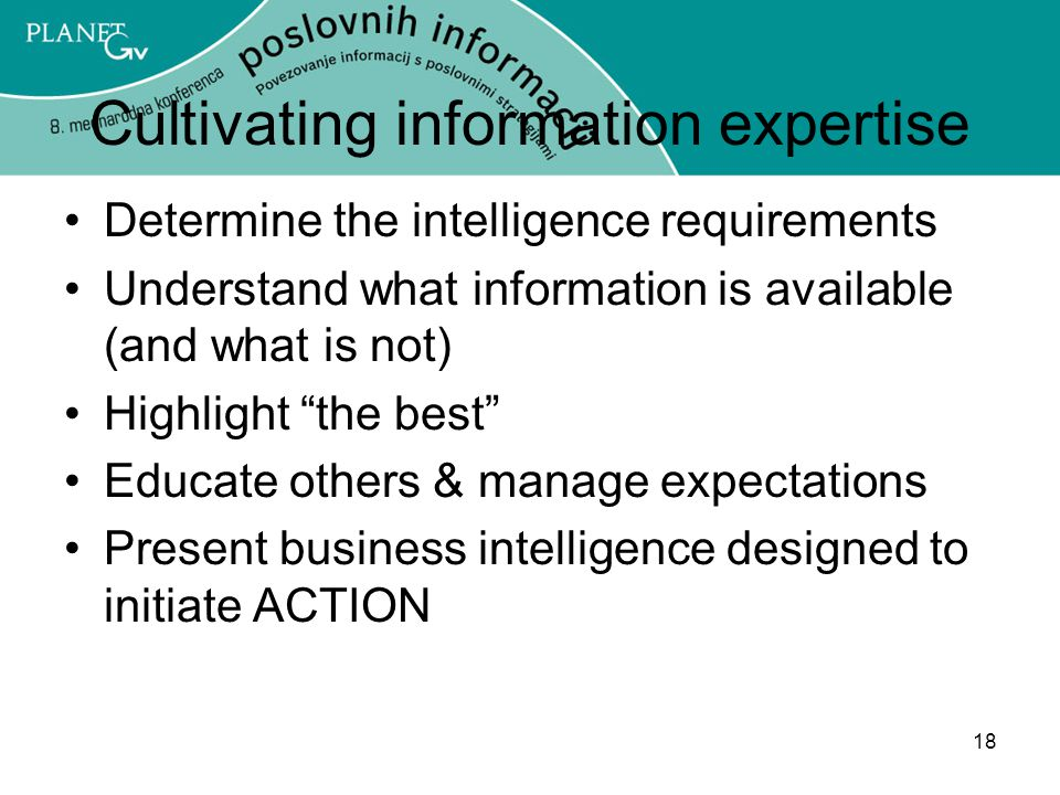Cultivating information expertise