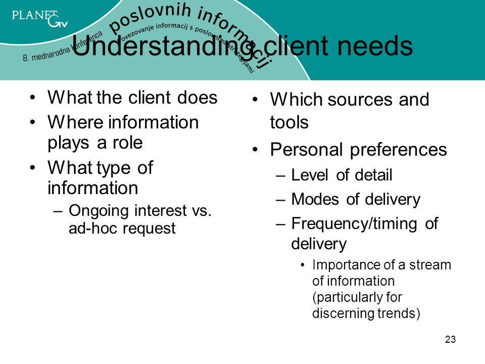 Understanding client needs