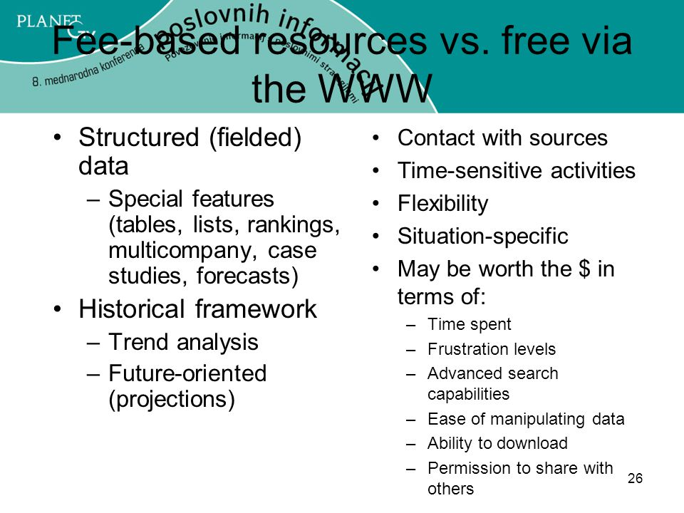Fee-based resources vs. free via the WWW