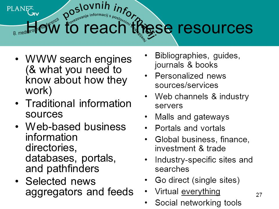 How to reach these resources