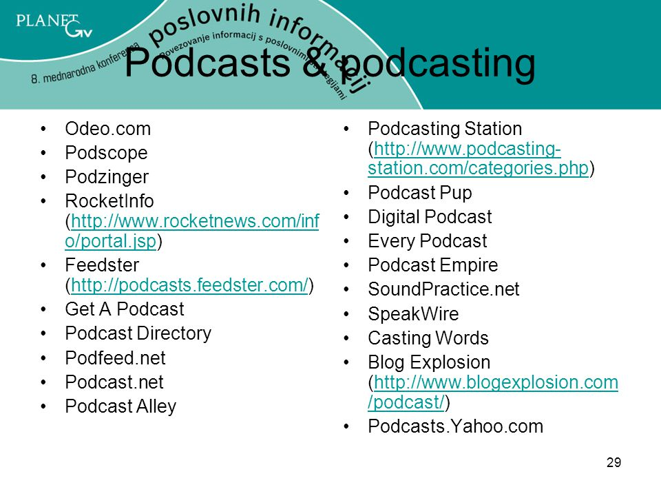 Podcasts & podcasting Odeo.com Podscope Podzinger