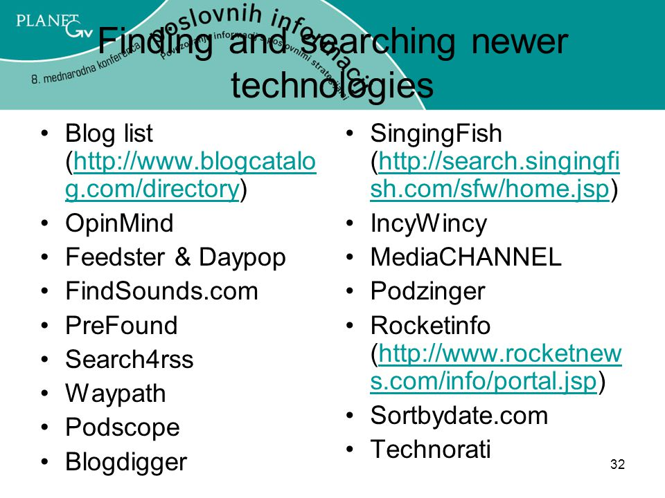 Finding and searching newer technologies