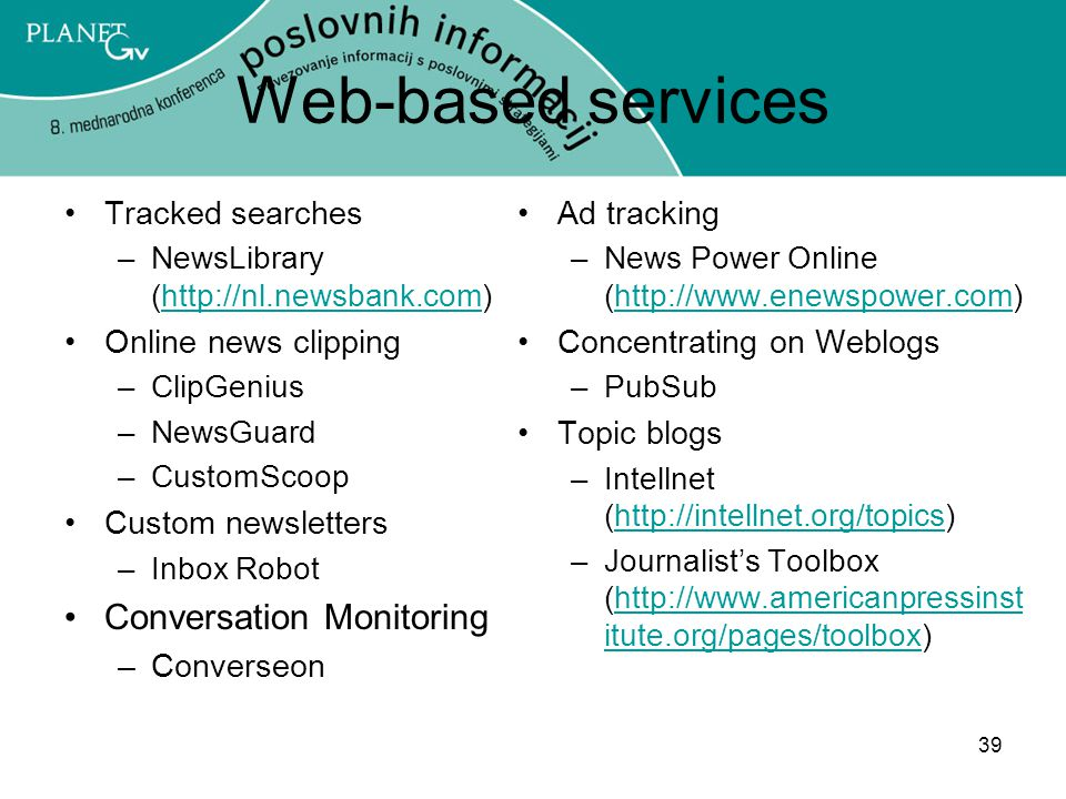 Web-based services Conversation Monitoring Tracked searches