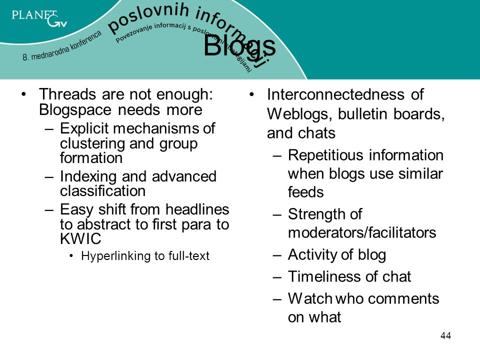 Blogs Interconnectedness of Weblogs, bulletin boards, and chats