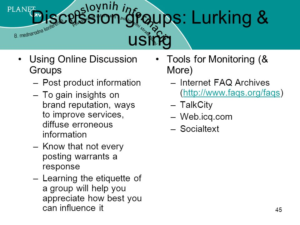 Discussion groups: Lurking & using