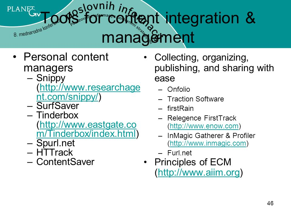 Tools for content integration & management