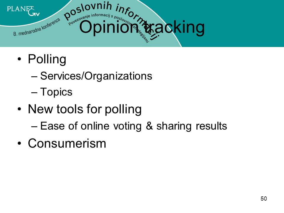 Opinion tracking Polling New tools for polling Consumerism