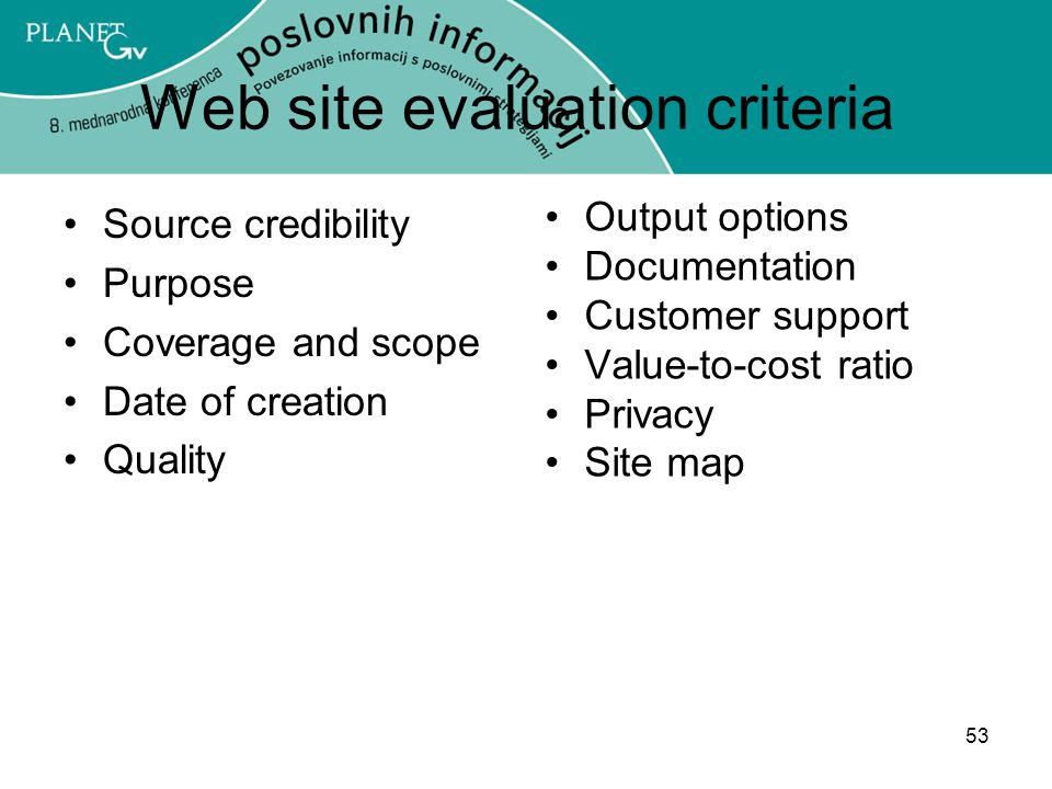Web site evaluation criteria