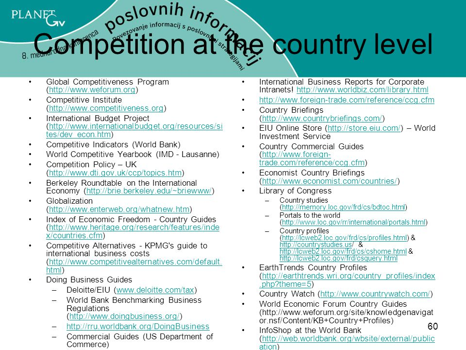 Competition at the country level
