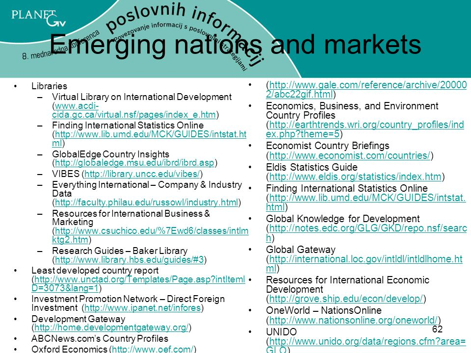 Emerging nations and markets