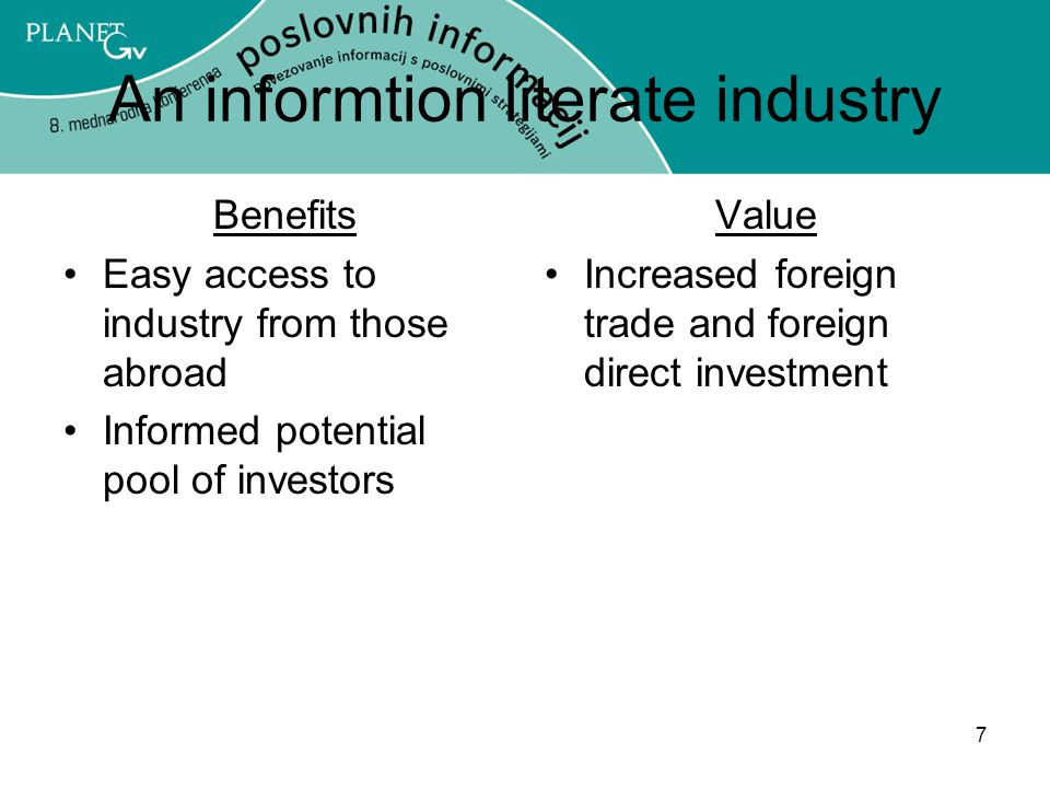An informtion literate industry