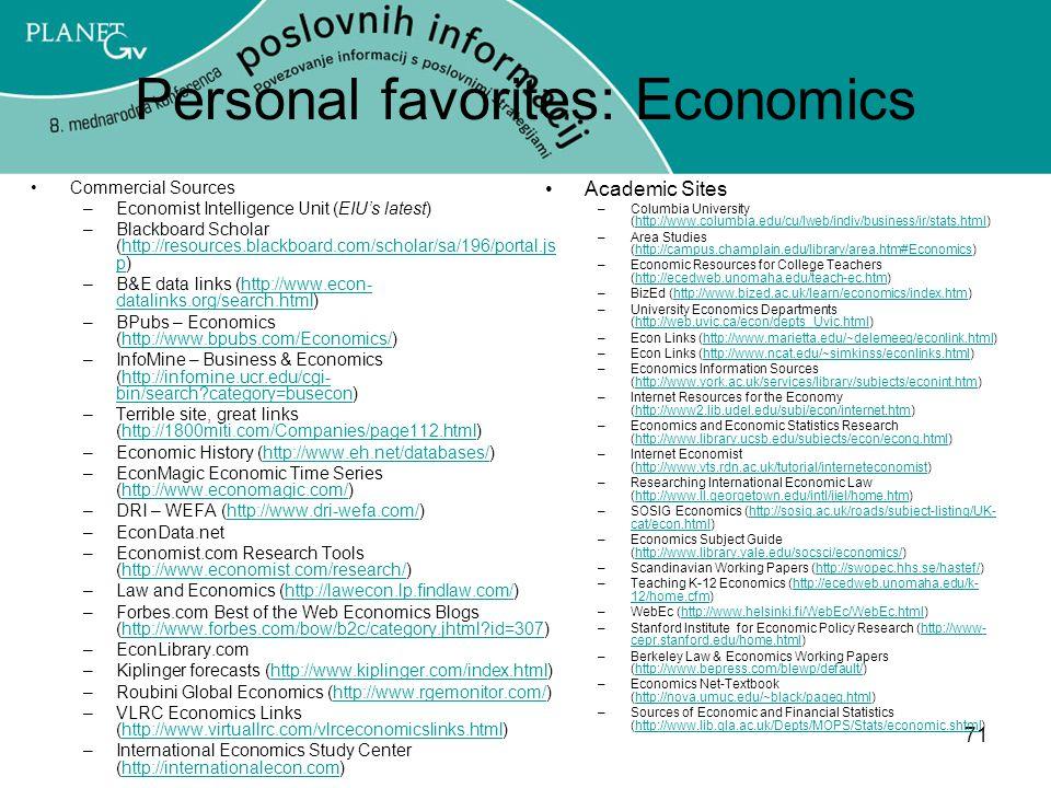 Personal favorites: Economics