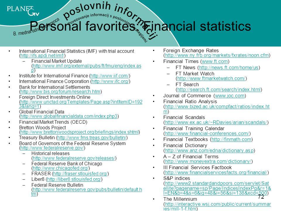 Personal favorites: Financial statistics