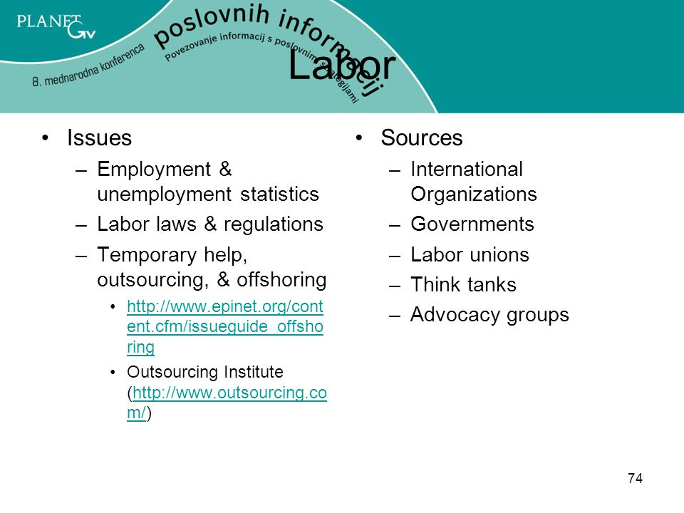 Labor Issues Sources Employment & unemployment statistics