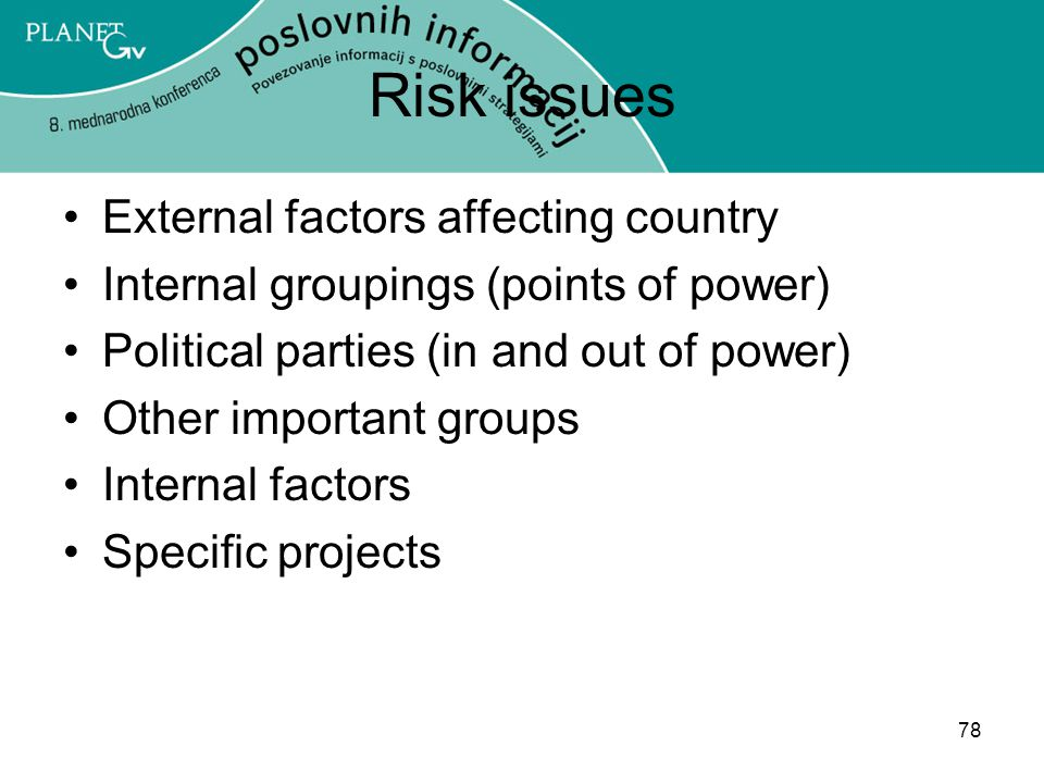 Risk issues External factors affecting country