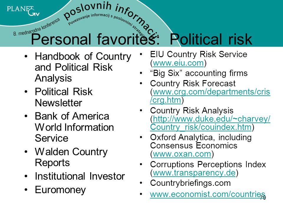 Personal favorites: Political risk