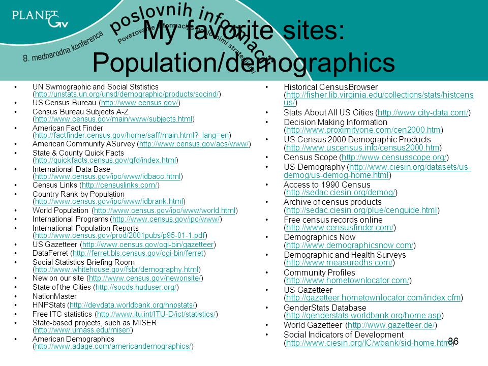 My favorite sites: Population/demographics