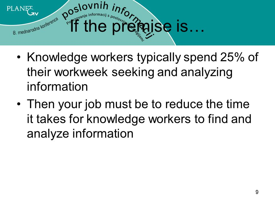 If the premise is… Knowledge workers typically spend 25% of their workweek seeking and analyzing information.