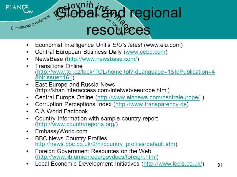 Global and regional resources