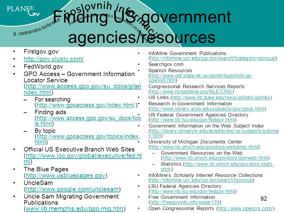 Finding US government agencies/resources