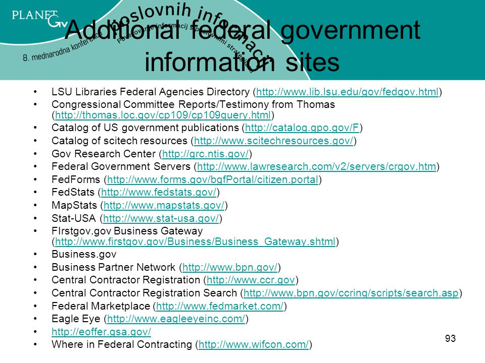 Additional federal government information sites
