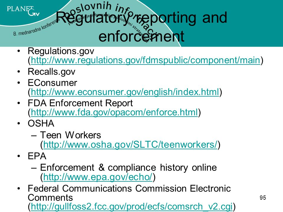 Regulatory reporting and enforcement