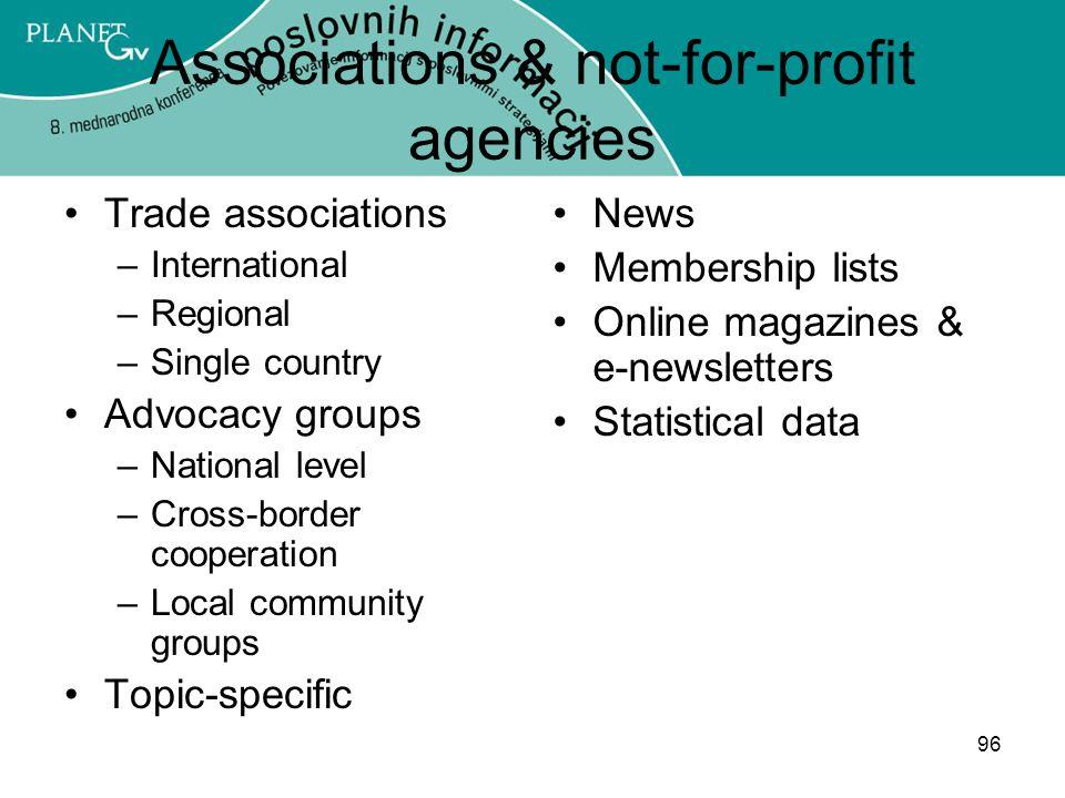 Associations & not-for-profit agencies