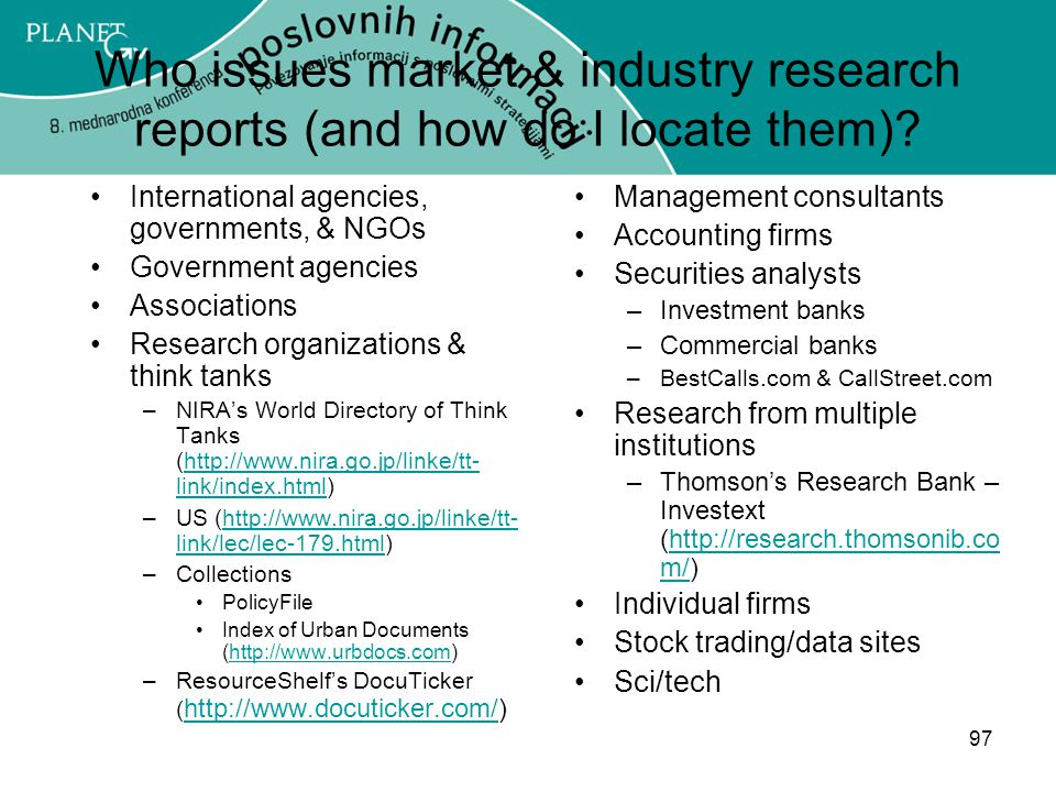 Who issues market & industry research reports (and how do I locate them)