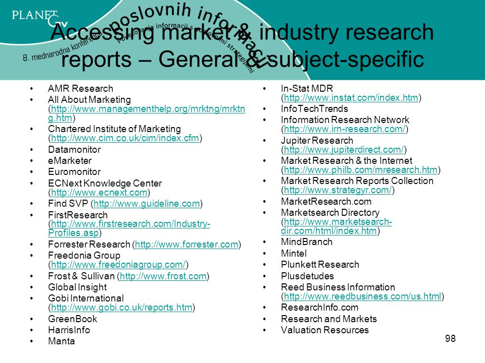 Accessing market & industry research reports – General & subject-specific