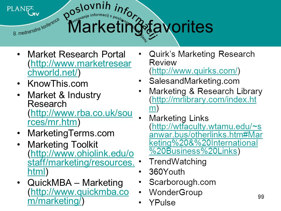 Marketing favorites Market Research Portal (http://www.marketresearchworld.net/) KnowThis.com.