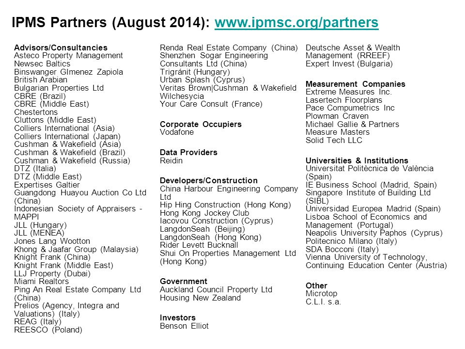 IPMS Partners (August 2014): www.ipmsc.org/partners