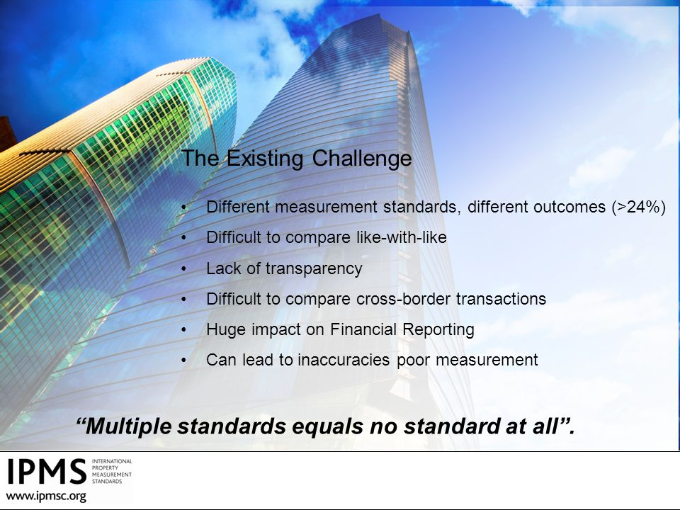 Multiple standards equals no standard at all . The Existing Challenge
