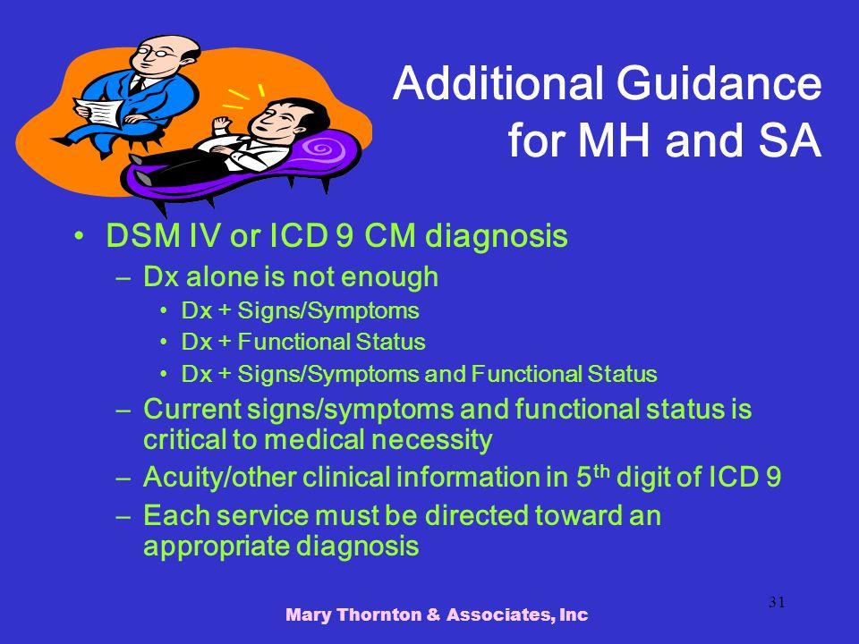 Additional Guidance for MH and SA