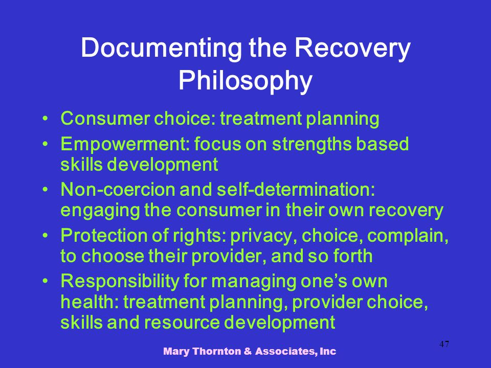 Documenting the Recovery Philosophy